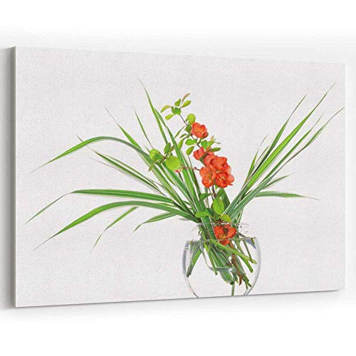 - Branch of a Quince and Decorative Sedge in a Glass vase Canvas Art Wall Dcor,Wall Art Canvas