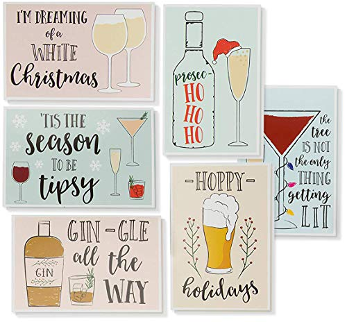 (48-Pack Merry Christmas Greeting Cards Bulk Box Set - Holiday Xmas Greeting Cards with 6 Drinking Holiday Funny Pun Designs, Bulk Assorted Festive Winter Holiday Cards with Envelopes, 4 x 6 Inches)