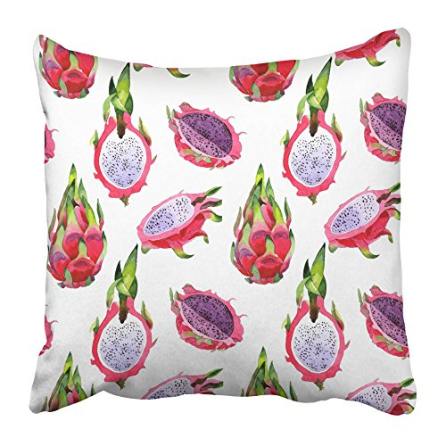 Emvency Decorative Throw Pillow Covers Cases Africa Exotic Pitaya Healthy Food in Watercolor Style Full Name The Fruit Aquarelle Wild Frukt 16x16 inches Pillowcases Case Cover Cushion Two Sided