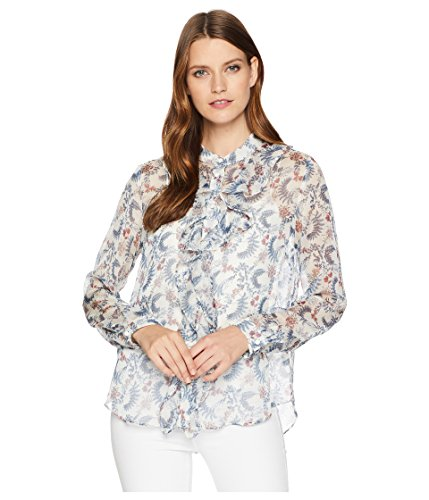VINCE CAMUTO Womens Long Sleeve Ruffle Front Boutique Floral Blouse Antique White SM