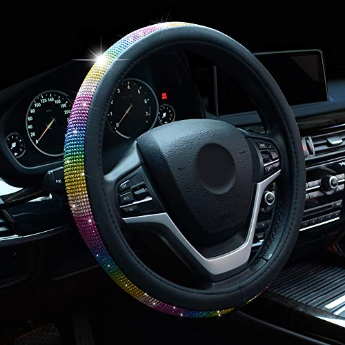 Alusbell Crystal Steering Wheel Cover Colorful Bling Bling Rhinestones Steering Wheel Covers with PU Leather for Women Universal Fit 15 Inch (Colorful)