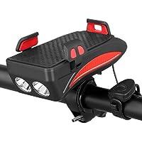 4 in 1 Fietstelefoon Houder met Zaklamp/Hoorn/Powerbank, Verstelbare Stuur Telefoon Mount Houder voor 4-6.3 inch…