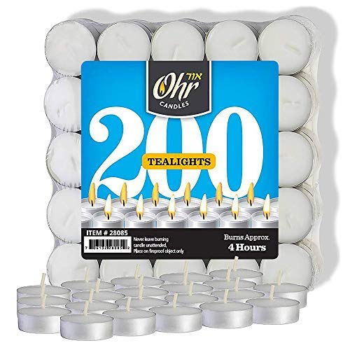 Ohr Tea Light Candles - 200 Bulk Pack - White Unscented Travel, Centerpiece, Decorative Candle - 4 Hour Burn Time. ()
