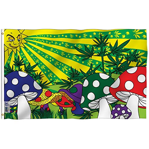 Anley Fly Breeze 3x5 Foot Marijuana Mushroom Flag - Vivid Color and UV Fade Resistant - Canvas Header and Double Stitched - Weed Shrooms Flags Polyester with Brass Grommets 3 X 5 Ft