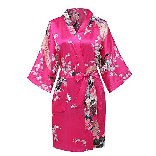 expressbuynow Womens Peacock Short Bridal Kimono Robe Satin Bridesmaid Dressing Gown Sleepwear, Hot ()