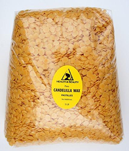 Candelilla Wax Flakes Organic Vegan Pastilles Beards Premium Prime Grade A 100% Pure 5 LB by H&B Oils Center Co.