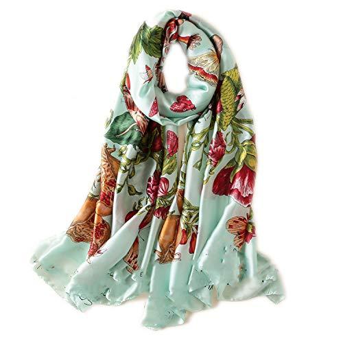 Digital Print Silk Scarf Women Natural Silk Florals Wraps Shawls And Scarf 180cm90cm,C45,L 180cm W 90cm from cengXY160h