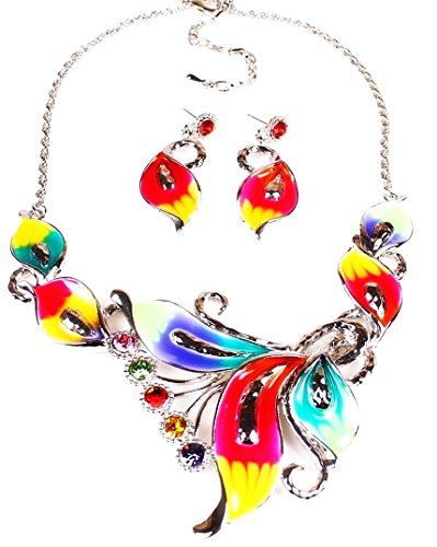 Tropical Flower Rhinestone - Pure Ziva Necklace & Earring Set: 24