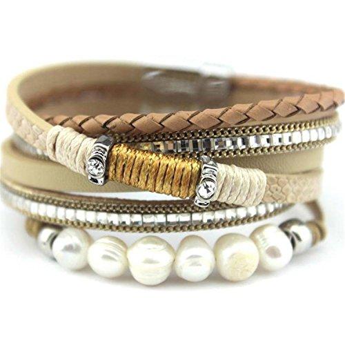NENGWENWU Women Bracelet Pierre Naturelle Knit Leather Wrap Baroque Pearl Charm Bracelets White 19cm