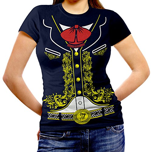 Viva Mexico Women's Mexican Mariachi Charro Costume Fitted T-Shirt Small Navy Blue -