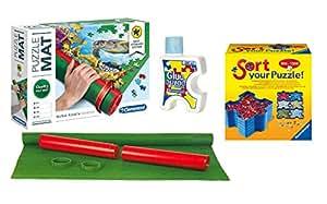 Outletdelocio Pack Puzzle Roll 2000. Tapete universal para transportar/guardar puzzles + Pegamento/conserver + Bandejas portapiezas