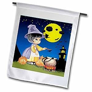 Edmond Hogge Jr Halloween - Little Witch on Halloween - 18 x 27 inch Garden Flag (fl_58840_2)