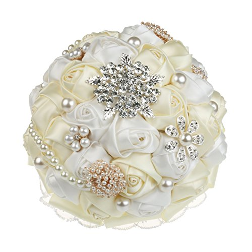 Ivory Satin Rose (vLoveLife Advanced White Ivory Wedding Bridal Bridesmaid Holding Bouquet Artificial Satin Rose Flower Handmade Posy Pearl Rhinestone Diamonte Lace Ribbon Decor)