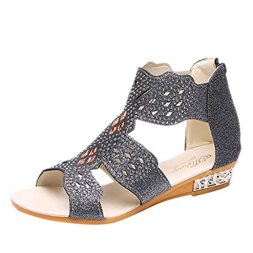 Rhinestone Sandals for Women,YuhooSUN Ladies Open Toe Wedge Sandals Fashion Crystal Bling Hollow Out Roman Shoes Black ()