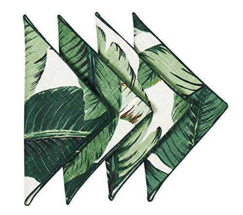 Cloth Napkins Table Linens Linen Napkins Palm Leaves Set of Four 18