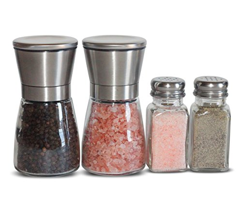 JBTrend Premium Salt and Pepper Grinder Set with FREE Matching Salt and Pepper Shakers - Stainless Steel Salt & Pepper Grinder Set with Glass Body and Adjustable Ceramic Mill - Great Gift Idea (Matching Grinders)
