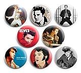 "Elvis Presley Pinback Buttons Badge (Set of 8) 1.25"" ,New"
