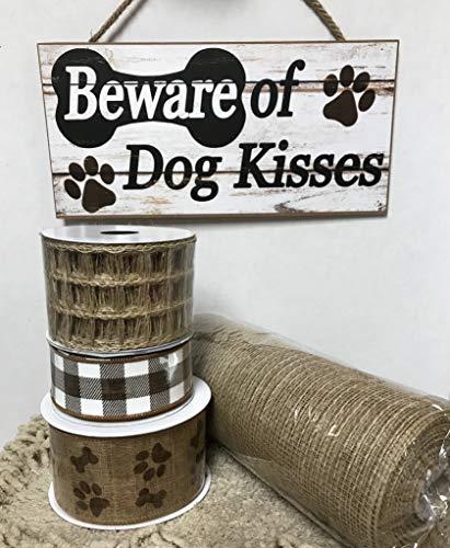 MosesMat41 Dog Kisses Wreath kit Wreath Supplies Wreath kit Wreath Sign Craft Supplies pet Decor Spring Wreath kit Dog Bone Sign Dog paw Ribbon
