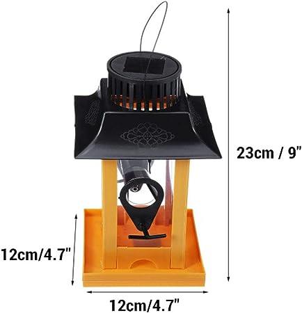 YAOBAO Solar del Alimentador del Pájaro Linterna Colgante Al Aire Libre del Jardín del LED Linterna Impermeable, Decoración Jardín, 12X12x23cm: Amazon.es: Deportes y aire libre