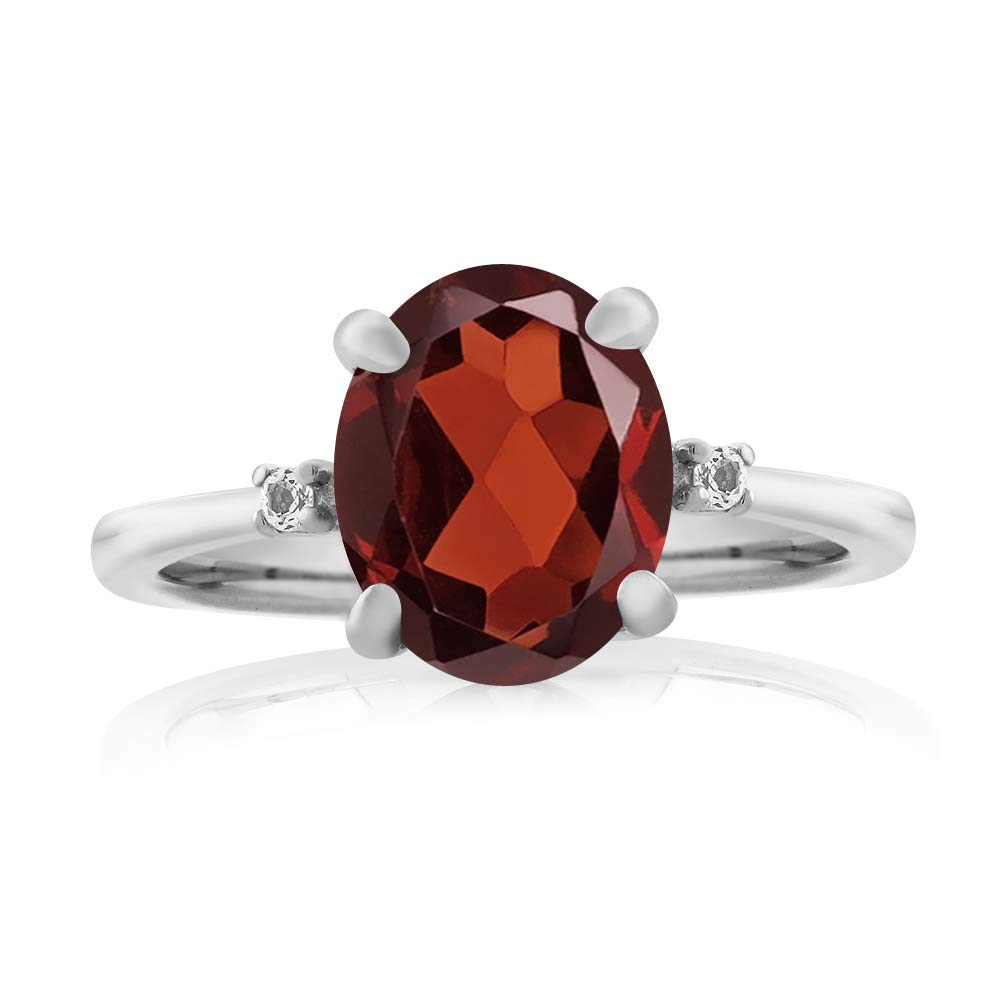 Gem Stone King 2.86 Ct Oval Red Garnet White Diamond 925 Sterling Silver Ring Available 5,6,7,8,9