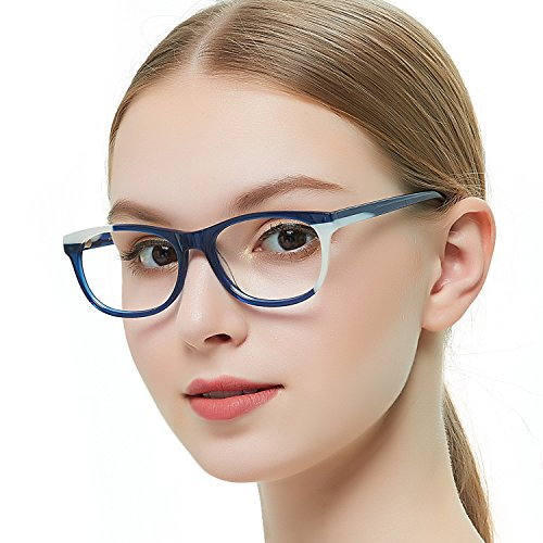 OCCI CHIARI Fashion Rectangular Blue black Clear Lens Acetate Optical Glasses Eyewear Frames for Women 52mm (Black white) by OCCI CHIARI