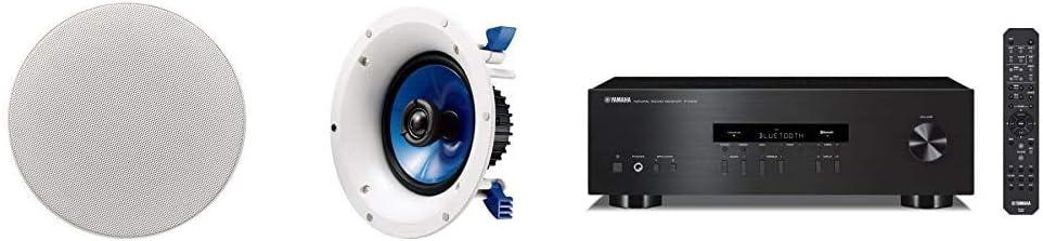 Yamaha NSIC600WH 2-Way 110-Watts RMSSpeaker - White & R-S202BL Stereo Receiver