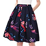 Taydey A-Line Pleated Vintage Skirts for Women (L, Bird)