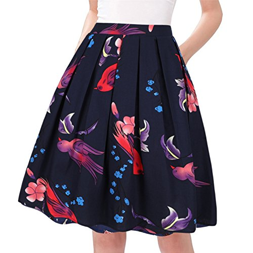 Taydey A-Line Pleated Vintage Skirts for Women (2XL, Bird)