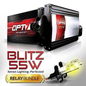 OPT7 Blitz 55w Hi Power 9004 Hi-Lo HID Kit - Relay Bundle - All Bulb Sizes and Colors - 2 Yr Warranty [3000K Yellow Xenon Light]