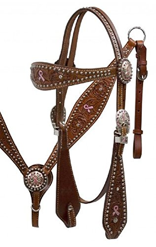 Showman Pink Hope Ribbon Headstall and Breast Collar Set its double stitched medium oil floral tooled leather with painted pink hope ribbon. -