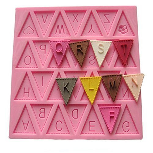(Vivin Bunting Alphabet Letter Flag Silicone Decorating Chocolate Cake Mould Fondant Baking - Pink 4