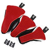 Foxnovo 3pcs Washable Soft Strechy Golf Headcover Protective Cover Case Set No. 1 3 5 (Red)