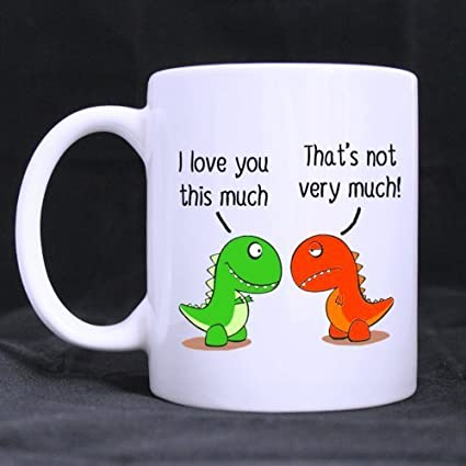 Cute Christmas Gifts For Girlfriend.I Love You This Much Cute Green Dinosaur Gift For Boyfriend Girlfriend Funny White Mug 11oz Coffee Mugs Or Tea Cup Cool Birthday Christmas Gifts For