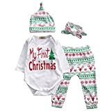 Baby Girls Christmas Xmas 4pcs Outfit Headband+Hat+Romper+Pants Leggings (S(0-3M), White)