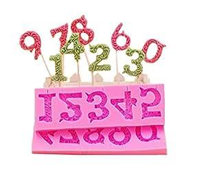 Alfabeto número 0–93d silicona para piruletas de piruleta con agujeros Fondant Decoración de Pasteles por Palker cielo