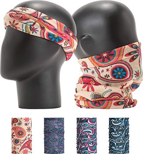 "LEEVO Pattern Bold Headwear Scarf Boho Headband Wrap Shield Neck Gaiter Bandana (Free Size (18.5"" 9.25""), Karma Paisley No.1, 4pcs Total)"