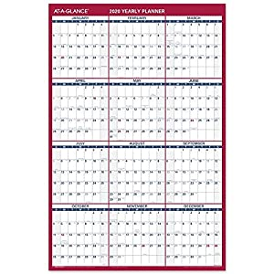 "AT-A-GLANCE 2020 Erasable Wall Calendar, 36"" x 24"", Large, Dry Erase, Reversible, Vertical/Horizontal (PM26B28)"