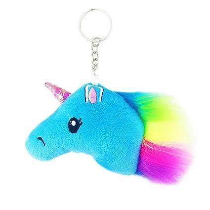 LAMEIDA Llavero Unicornio Llavero de Peluche de Color para Mujer Niña Colgante Decorativo de Bolso de Mano Billetera (Azul)