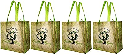 Earthwise Large Earth Day Reusable Shopping Tote Bag ( Pack of 4)