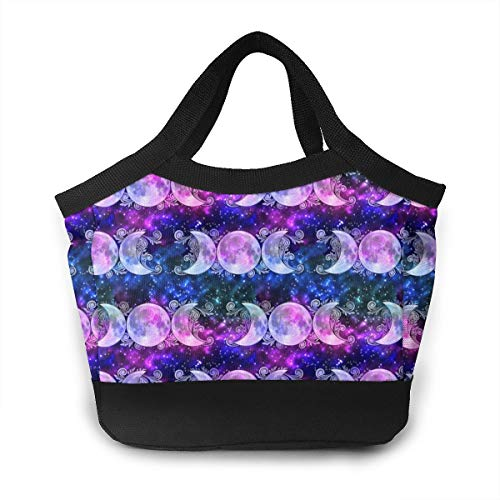 - Triple Goddess Moons And Stars Lunch Tote, Home Thick Reusable Insulated Thermal Lunch Bag Box Carry Case Handbags Tote With Zipper Perfect For Work Women Men Travel Picnic