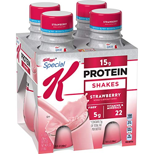 Special K Protein Shakes, Strawberry, Gluten Free, 10 fl oz Bottles (4 Count)