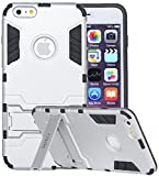 iPhone 6S Plus, iPhone 6 Plus, iRon Dual-layer Heavy Duty Matte Rugged Protective Cover with Built in Foldable Kickstand for Apple iPhone 6S Plus iPhone 6 Plus By Cazle (Silver)