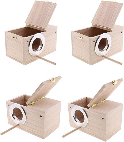 FLAMEER Cajas De Nido De Nido De Madera De 4 Piezas Para Pájaros Pequeños, Periquitos Y Pinzones: Amazon.es: Jardín