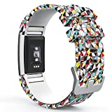 "Fitbit Charge 2 Band, MoKo Soft Silicone Adjustable Replacement Sport Strap Band for 2016 Fitbit Charge 2 HR Heart Rate + Fitness Wristband, Wrist Length 5.70""-8.26"", Colorful Diamond"