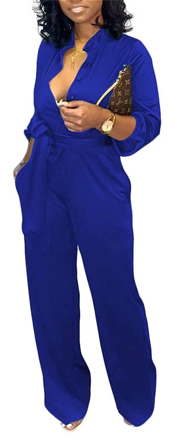 Vaceky Womens Casual Long Jumpsuits V Neck Button Down Long Sleeve T Shirt Wide Leg Pants Rompers with Belt Pockets