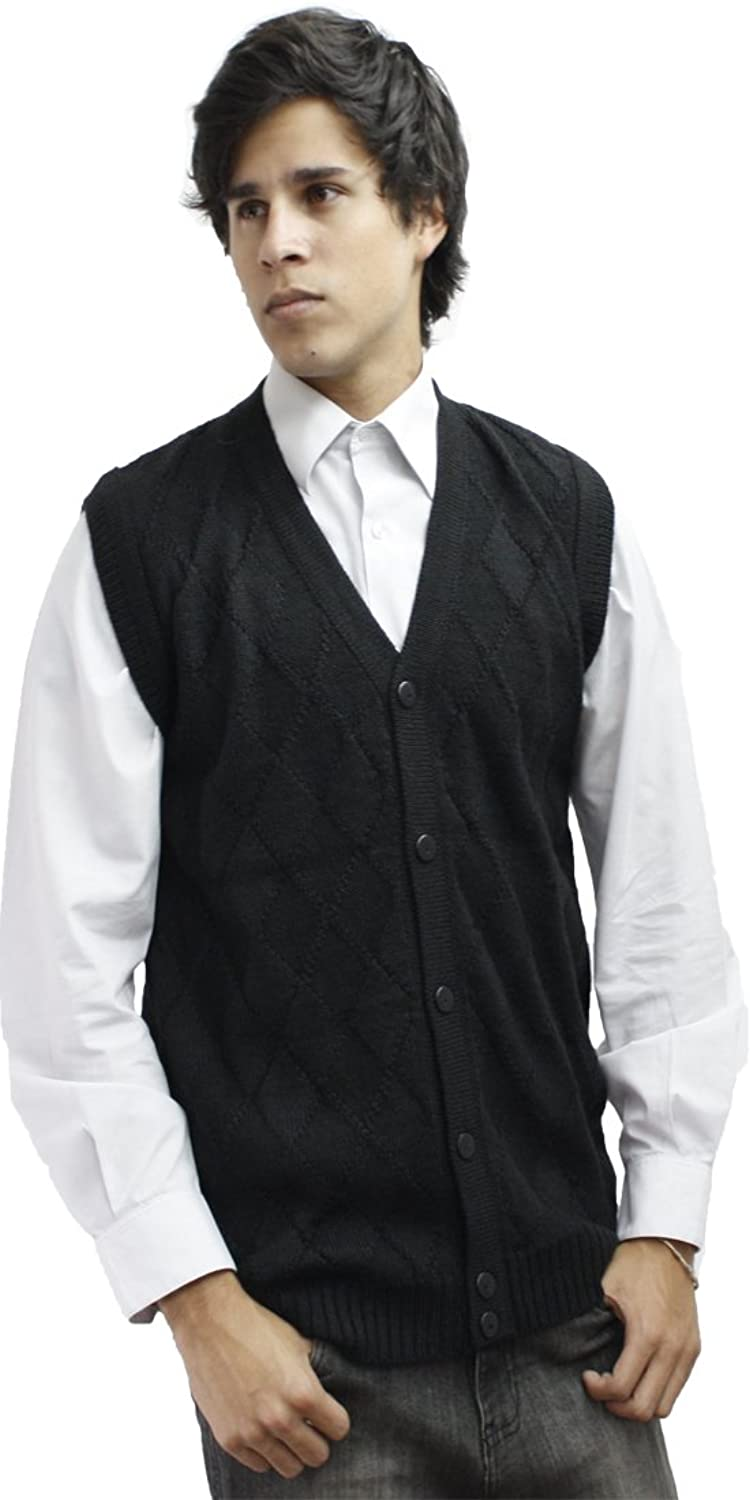 Mens Soft Alpaca Wool Knitted V Neck Sweater Button Down Golf Vest ...