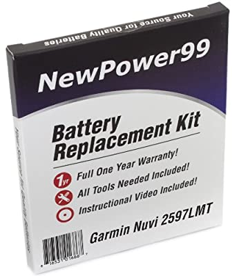 Battery Replacement Kit for Garmin Nuvi 2597LMT with Installation Video, Tools, and Extended Life Battery.