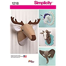 Simplicity Creative Patterns 1218 Plush Stuffed Animal Heads, OS (ONE SIZE)