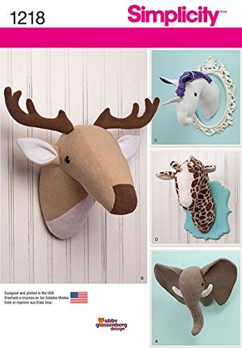 Amazon.com: Simplicity Creative Patterns 1218 Plush Stuffed Animal Heads, OS (ONE SIZE): Arts, Crafts & Sewing