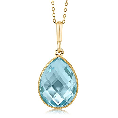 Gem Stone King Blue Topaz Pear Shape Gold Plated 925 Sterling Silver Pendant Necklace 9.00 cttw, 16X12MM, With 18 inch Silver Chain